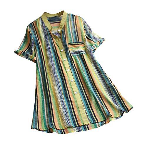 Print Tulip Rock (Ears Frauen Striped Print Bluse Multicolor Shirt Kurzarm Top Lässige Knopfleiste Strickjacke O-Neck Kurzarmshirt Print Shirt Gym Fitness Shirt Trainingsshirt Training Tunika Trikot)