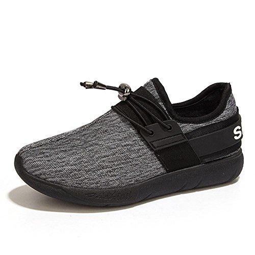 Ladies / Boys Sneakers casuali traspiranti estate e autunno moda scarpe sportive in maglia elastica leggero e durevole Black