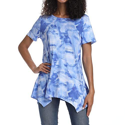 Sommershirts für Damen Top Bluse Unregelmäßiges Shirt Frauen O-Neck Lässige Short Sleeve Printing Einzigartiges Design(Blau,S)