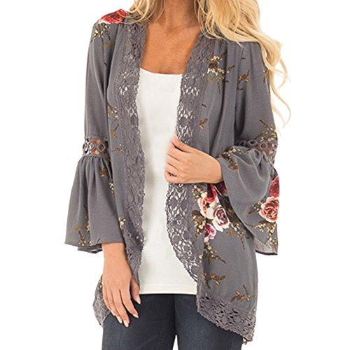 ESAILQ Frau Spitze Floral Kimono Jacke Strickjacke Open Cape Casual Mantel Bluse (XX-Large,Grau)