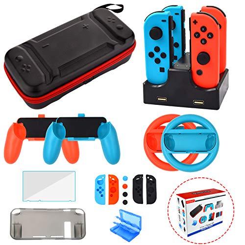 Ensemble Accessoire pour Nintendo Switch - Housse Protection écran pour Nintendo Switch Console - étui pour Jeux Cartouche - Volants Grips Silicone Protection Chargeur pour Joy-Con Manette (17 in 1)
