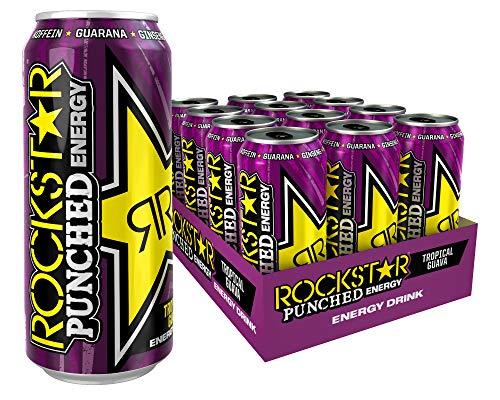 Rockstar Energy Drink Punched Guava - Exotisches, koffeinhaltiges Erfrischungsgetränk für den Energie Kick, EINWEG (12x 500ml) - Rock Star Energy