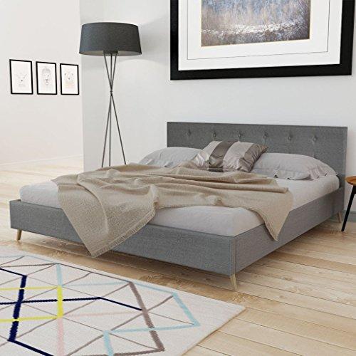 Anself Doppelbett Bett Gästebett 160x200cm aus Holz mit Stoffbezug ohne Matratze Hellgrau