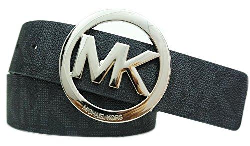 Michael Kors Belt Circle Plaque Logo Buckle Black/Silver (Medium)