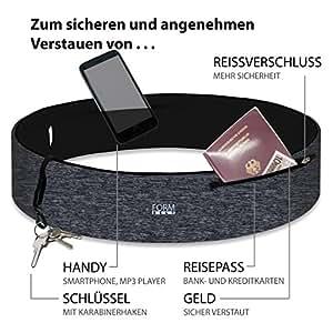 Formbelt® plus Sport-Bauchtasche mit Reißverschluss, Laufgürtel für Handy Smartphone, elastische Lauftasche Iphone 8 8 plus X 7 plus + Samsung Galaxy S-7 S8 plus Reise-Hüfttasche (grau, XS)