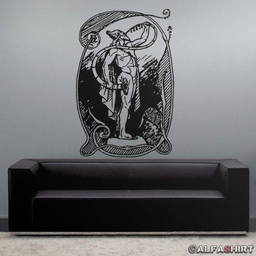 Heimdall the whitest of the gods Wikinger Mythologie Geschichte Gott Raben Wolf - Aufkleber Tattoo Wandtattoo Wandbild (schwarz ca. 45x68cm) - Frankreich Hebdo Charlie