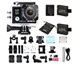 WiMiUS Actioncam 4k Kamera Action Dual Bildschirm 2 Akkus HD Action Cam Wifi 16MP Actionkamera 40M Wasserdichte Helmkamera mit Ersatzakku Ladegerät und Beutel(Q4 Schwarz)