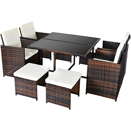 Merax Poly Rattan Lounge Gartenmöbel Set Sitzgruppe klappbare Essgruppe11/9 PCs (9 PCs, Braun)