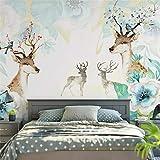 3D Non-Woven Wallpaper Nordic Modern Minimalist Tv Background Wall Paper Abstract Elk Mural Living Room Bedroom Sofa Wallpaper Video Wall, 400Cm*280Cm