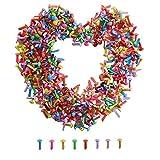 HUAESIN 500 Stück Mini Brads Rund Musterklammern Bunt Musterbeutelklammern Rundkopf für Scrapbooking Papier Basteln DIY Kunsthandwerk Deko 6 Farben 4,5x8mm