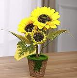 Starline 2 Stück Sonnenblume mit 3 Blüten im Topf Kunstblume Dekoblume Blume-künstlich Bringt Leuchtend gelbe Farbtupfer in Jede Wohnung Kunst Blume Kunstpflanze Helianthus Deko Star-LINE®