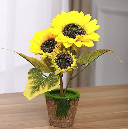 Starline 2 Stück Sonnenblume mit 3 Blüten im Topf Kunstblume Dekoblume Blume-künstlich Bringt Leuchtend gelbe Farbtupfer in Jede Wohnung Kunst Blume Kunstpflanze Helianthus Deko