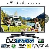 Gelhard GTV-1982 LED Fernseher 19 Zoll TV DVD DVB-S/S2/T/T2/C 230/12 Volt / 24 Volt