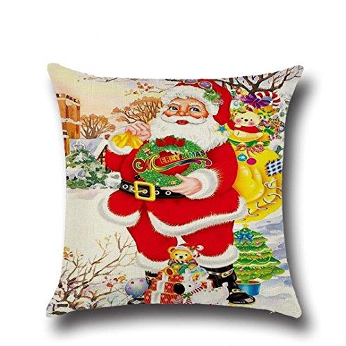Zolimx Weihnachten Quadrat Wurf Flachs Dekoratives Kissenbezug Kissen (Pailletten Ohrringe Kugel)