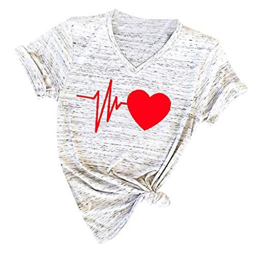 Damen T Shirt, SHOBDW Bluse Damen Kurzarm Sommer Mode Locker Kurzarm V Ausschnitt Shirts Herz Drucken Lässig Bluse Tops Große Größen Damen Oberteile