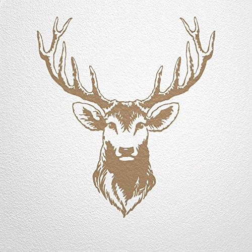 WANDfee® Wandtattoo Hirsch Hirschkopf Hirschgeweih AC0550004 Größe 113 x 100 cm Farbe hellbraun - Bambus-stamm Material