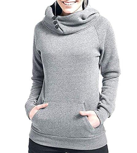 Freestyle Décontractée Hooded Chemisiers Top Slim Sweats à Capuche à Manches Longue Couleur Unie Poche Encapuchonné Sweatshirt Femme Automne et Hiver Blouse Gris