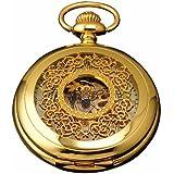 AMPM24 Luxury Golden Luminous Mens Mechanical Pocket Watch + Chain and AMPM24 Gift Box WPK020