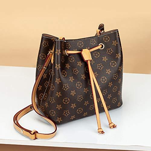 LFGCL Taschen womenSimple Eimer Tasche Handtasche Umhängetasche Diagonale Paket, alte Blume Aprikose