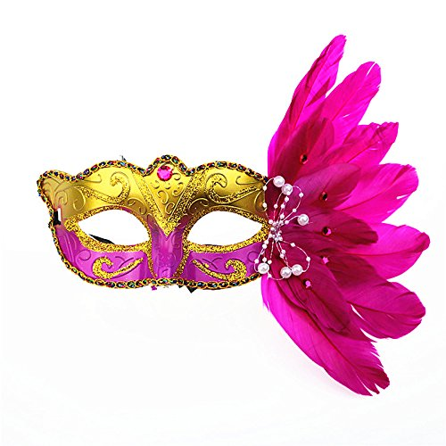 Damen Sparkling Party Maske mit Federn Masquerade Maske Halloween Mardi Gras Cosplay Party Maske Normal hot pink