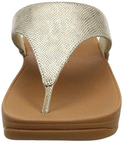 Fitflop Lulu Toe-Thong Sandals-Shimmer-Print, Sandali Punta Aperta Donna Gold (Gold Shimmer-Print)
