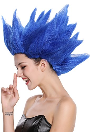 Wig me up  - 91062-pc3 parrucca donna uomo carnevale halloween cosplay fiore tulipano demone fata blu acconciatura sparata in aria