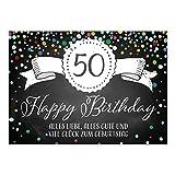 Große XXL Design Glückwunsch-Karte zum 50. Geburtstag mit Umschlag/DIN A4/Tafel-Look Konfetti/Grußkarte/Geburtstagskarte/Happy Birthday