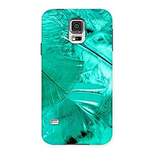 Stylish Feather Cyan Back Case Cover for Samsung Galaxy S5