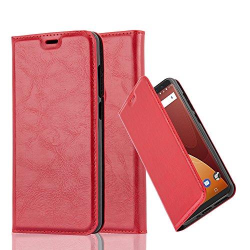 Cadorabo Hülle für WIKO View Prime - Hülle in Apfel ROT – Handyhülle mit Magnetverschluss, Standfunktion und Kartenfach - Case Cover Schutzhülle Etui Tasche Book Klapp Style