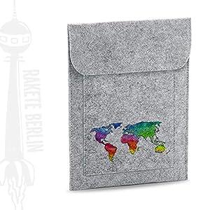 Tablet Filzhülle 'Weltkarte Watercolor – gezeichnet'