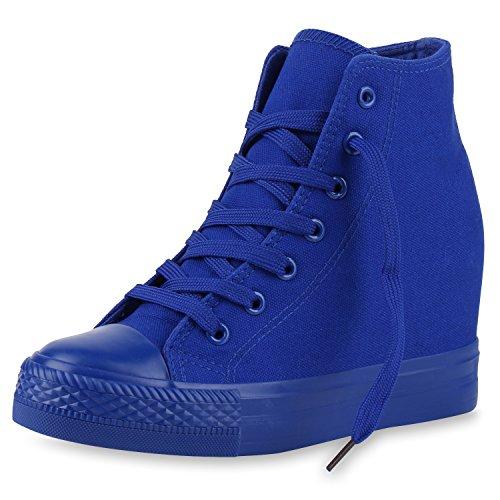 Motto Party Sport Kostüm - SCARPE VITA Damen Sneakers Keilabsatz Sneaker-Wedges Trendfarben Stoffschuhe 165500 Blau 38