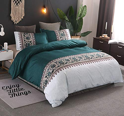 Fcao-Bettwäsche, Dunkelgrüne Blumen Bettbezug-Sets Mit Kissenbezug Bettwäsche-Sets Mit Blumenmuster Bettwäsche-Sets Klassisches Bettbezug-Set 2/3-teilige Bettgarnituren (Size : UK Double 3pcs) -