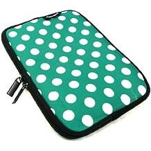 Emartbuy® Ampe 830 Windows Tablet PC 8.1 Pulgada Lunares Verde / Blanco Funda Impermeable con Cremallera de Neopreno Suave Case Cover Sleeve ( 8 Pulgada Tablet )