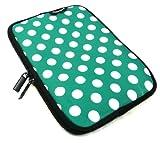 Emartbuy® Polka Dots Grün / Weiß Wasserabweisende Weiche Neopren Hülle Schutzhülle Case Cover mit Reißverschluss 3Q MT7801C / 3Q AC7803C / 3Q RC7804F 7.85