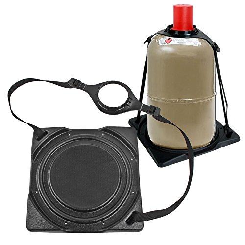 Preisvergleich Produktbild 2x Gasflaschenhalter Froli ® schwarz passend für 5 oder 11 Kg Flaschen Stahl - Alu