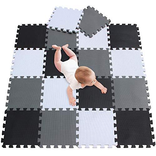 e Spielmatte Spielteppich Schaumstoff Puzzle Kinderteppich Boden Puzzle kriechen Play Spiel Matte für Baby Kinder,Kleinkind sicher zu verwenden Schwarz-weiß-grau 18 PCS 010412 ()