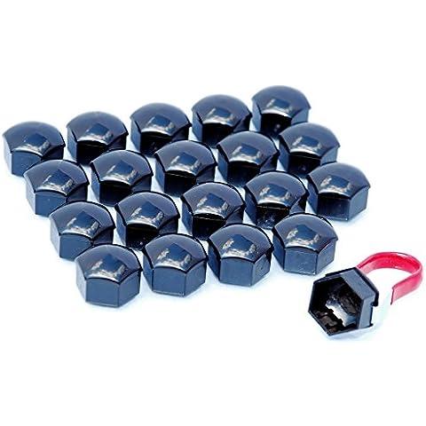 20pezzi Universale 17mm tappi per bulloni e dadi ruota in lega Schermo Covers nero lucido per