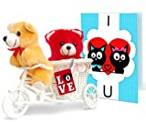 #9: TiedRibbons® valentine's day gifts for Girlfriend Love you forever 2 Teddy with cycle,Keychain and Greeting Card