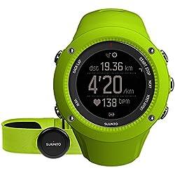Suunto - Ambit3 Run HR - SS021261000 - Reloj GPS Multideporte + Cinturón de frecuencia cardiaca (Talla M) - Sumergible 50 m - Verde lima