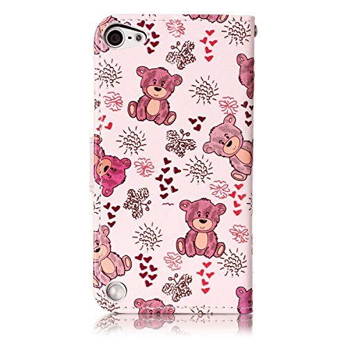 Coque Etui pour Apple iPod Touch 5 6,iPod Touch 6 Coque Portefeuille PU Cuir Etui,iPod Touch 6 Coque de Protection en Cuir Folio Housse, iPhone 7 Leather Case Wallet Flip Protective Cover Protector, U Ours