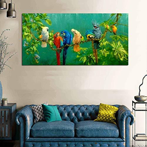 zlhcich Cuore Pappagallo colorato Moderno Semplice Soggiorno Sfondo Decorativo Pittura 60x120 cm