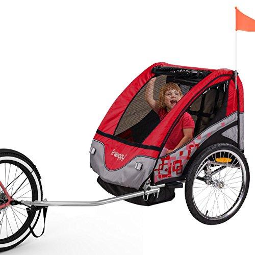 FROGGY Kinder Fahrradanhänger mit Federung + 5-Punkt Sicherheitsgurt, Anhänger für 1 bis 2 Kinder, Design Cherry