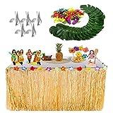 Gonna da tavolo Luau e foglie di palme tropicali e fiori di ibisco di seta, leggeri per il trasporto portatile e un tocco confortevole. Decorazioni perfette per il salotto di casa, il tavolo da pranzo, le camere da letto, il luau party, l'arr...