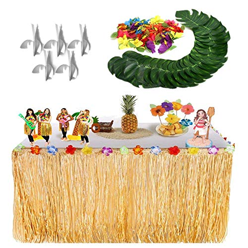 Sinoem gonna tavolo hawaiana tovaglia da tavolo + 24 pezzi foglie di palma tropicale +24 pezzi fiori di ibisco di seta per barbecue tropical garden beach estate tiki decorazioni per feste (oro)
