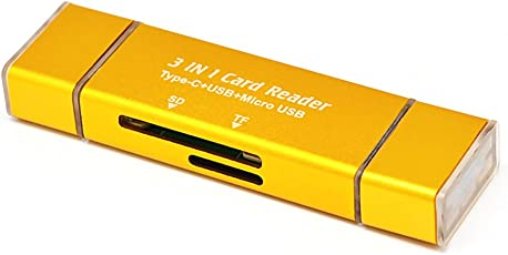 Goln T663 Portable Aluminum Alloy 3 in 1 SD/TF Card Reader Type-C + USB 2.0 +Micro USB Adapter win98/ME/2000/XP/7/8/Mac OS/Android -Gold
