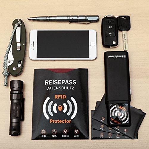 TRAVANDO ® RFID & NFC Schutzhülle (10+2 Stück) für Bankkarte, Ausweise, Kreditkarte, EC-Karte, Reisepass - Kreditkartenhülle / Kartenschutzhülle mit RFID Blocker + GRATIS E-Book + 10 Farb-Sticker