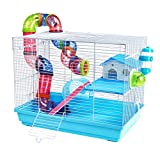 Pet Ting Peach Hamster Cage With Tubes Gerbil Mouse Dwarf Mice Spinning Wheel