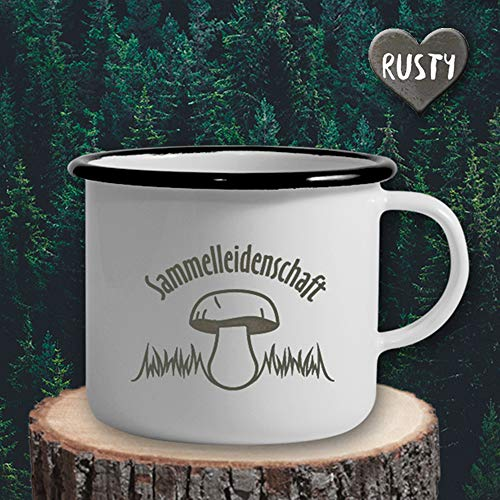 The Manufacture Sammelleidenschaft Pilz Herbst Emaille Becher Tasse als Geschenk, weiß Pilzkorb Geburtstag Deko -