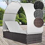MIADOMODO Polyrattan Sonnenliege für 1 Person inkl. Kissen und Sitzauflage mit Rückenlehnen und Sonnendach, 4-fach höhenverstellbar, Sonneninsel Lounge Sonnenliege Gartenliege (Schwarz/Grau/Braun)