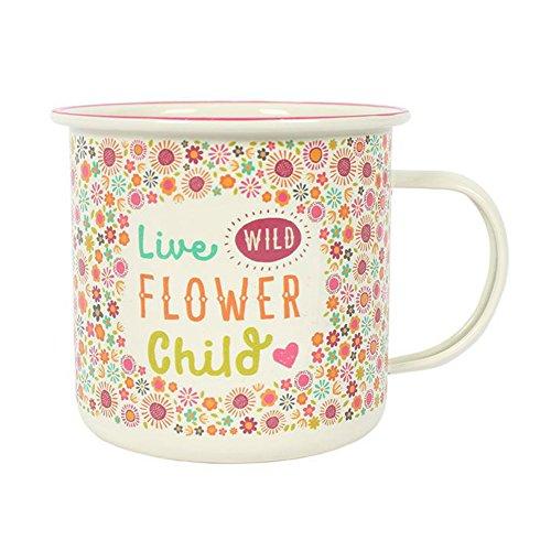 Hippie-Tasse 'Live Wild Flower Child' Floral Fiesta Fun Emaille Tasse